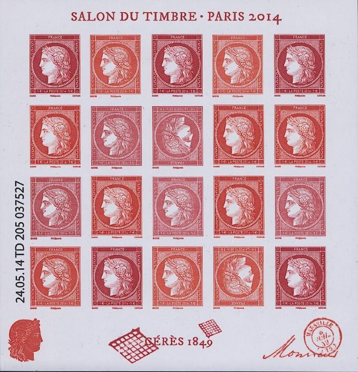 frankreich 2014 salon du timbre ceres 5938 39 kleinbogen